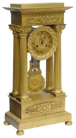 FRENCH EMPIRE STYLE BRONZE PORTICO CLOCK