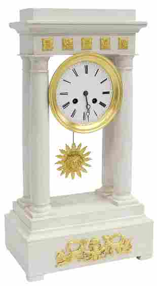 FRENCH EMPIRE STYLE PAINTED PORTICO CLOCK