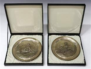 (2) GEO. WASHINGTON MINT STERLING PLATES, 20 OZT