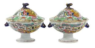 (2) MASONS 'GREEN MANDARIN' LIDDED SAUCE TUREENS