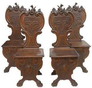 (4) ITALIAN RENAISSANCE REVIVAL CARVED HALL CHAIRS