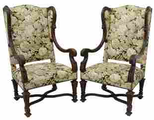 (2) FRENCH LOUIS XIV STYLE OAK WINGBACK FAUTEUILS