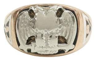 GENTS 10K GOLD SCOTTISH RITE 32ND DEGREE RING