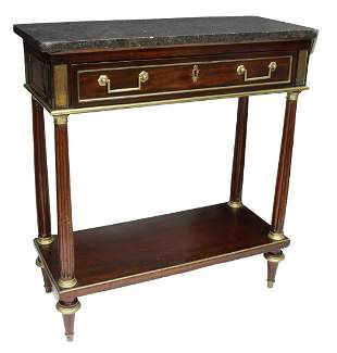FRENCH LOUIS XVI STYLE MARBLE-TOP CONSOLE TABLE
