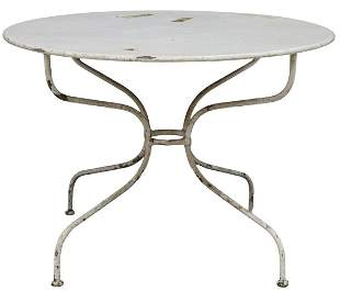 FRENCH PAINTED IRON PATIO GARDEN TABLE