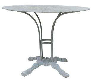 FRENCH PAINTED CAST IRON PATIO GARDEN TABLE