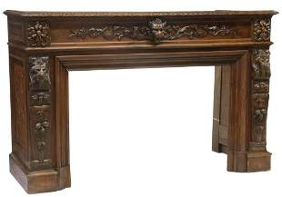 FRENCH CARVED OAK FIREPLACE MANTEL SURROUND