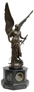 FRENCH MARBLE & BRONZE FIGURAL ANGEL MANTEL CLOCK