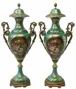 (2) LARGE SEVRES STYLE PORCELAIN COVERED URNS