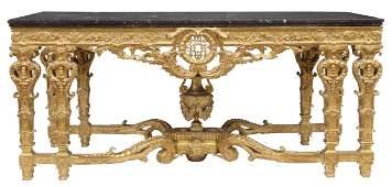 MONUMENTAL ITALIAN NEOCLASSICAL GILT CONSOLE TABLE