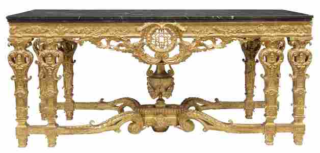 MONUMENTAL ITALIAN NEOCLASSICAL GILT CONSOLE TABLE