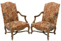 (2) FRENCH LOUIS XV STYLE CARVED WALNUT FAUTEUILS