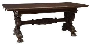ITALIAN RENAISSANCE REVIVAL CARVED WALNUT TABLE