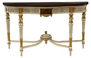 LOUIS XVI STYLE PARCEL GILT MARQUETRY CONSOLE