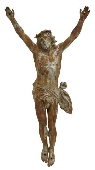 LARGE CAST IRON CORPUS CHRISTI CRUCIFIX FIGURE