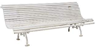 FRENCH SLATTED WOOD & CAST IRON GARDEN BENCH