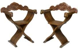 (2) ITALIAN SAVONAROLA SLATTED CURULE ARMCHAIRS