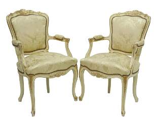 (2) FRENCH LOUIS XV STYLE UPHOLSTERED FAUTEUILS