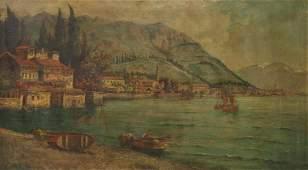 FRAMED ITALIAN SCHOOL PAINTING FISHING BOATS