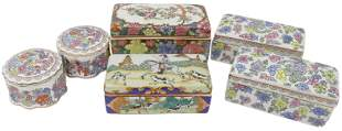 (6) CHINESE FAMILLE ROSE PORCELAIN BOXES