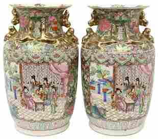 (2) CHINESE FAMILLE ROSE ENAMELED PORCELAIN VASES