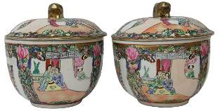 (2) CHINESE FAMILLE ROSE PORCELAIN COVERED BOWLS