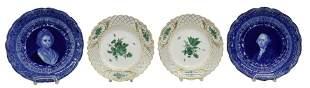 4) MEISSEN GREEN FLOWER & RIDGEWAYS CABINET PLATES