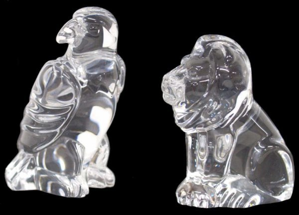 STEUBEN CRYSTAL EAGLE & LION HAND COOLER FIGURES