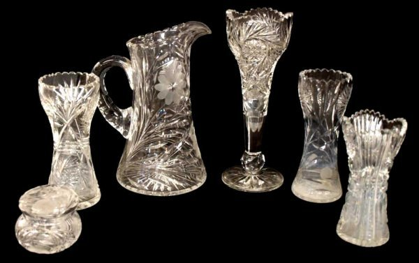 (6) GROUP OF CUT GLASS VASES, PITCHER & POWDER JAR
