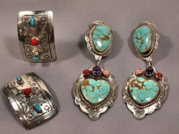 VINTAGE MEXICAN STERLING & TURQUOISE EARRINGS