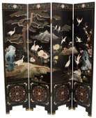 CHINESE FOUR- PANEL BLACK LACQUER FOLDING SCREEN