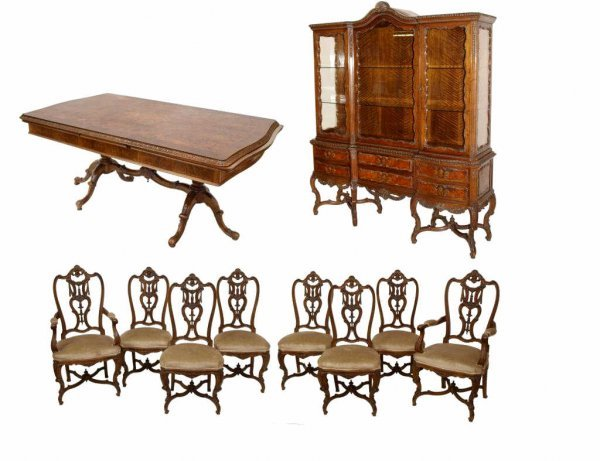 FINE SPANISH BURLED WALNUT DINING SUITE