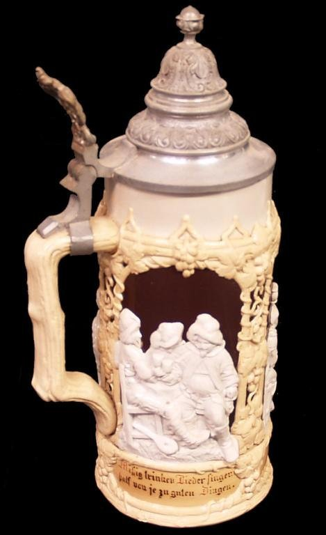 METTLACH STONEWARE RELIEF DECORATED STEIN, #1005