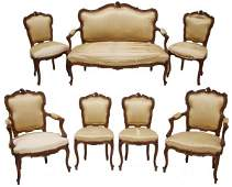 ANTIQUE FRENCH LOUIS XV STYLE CARVED PARLOR SUITE