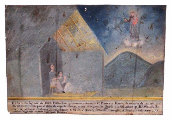 ANTIQUE RELIGIOUS RETABLO, SAN ANTONIO, MEXICO