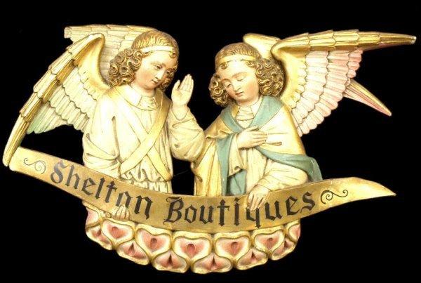 ANTIQUE POLYCHROMED PARCEL GILT WINGED ANGEL SIGN