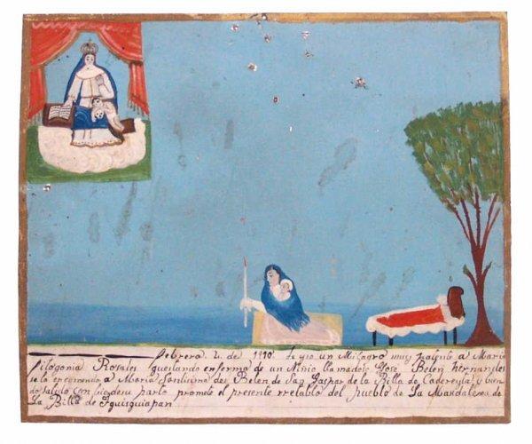 LARGE ANTIQUE RELIGIOUS FOLK ART RETABLO, MEXICO