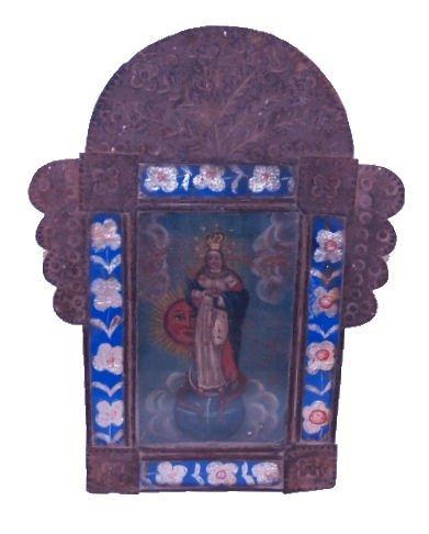 ANTIQUE RELIGIOUS OIL ON TIN, RETABLO, MEXICO