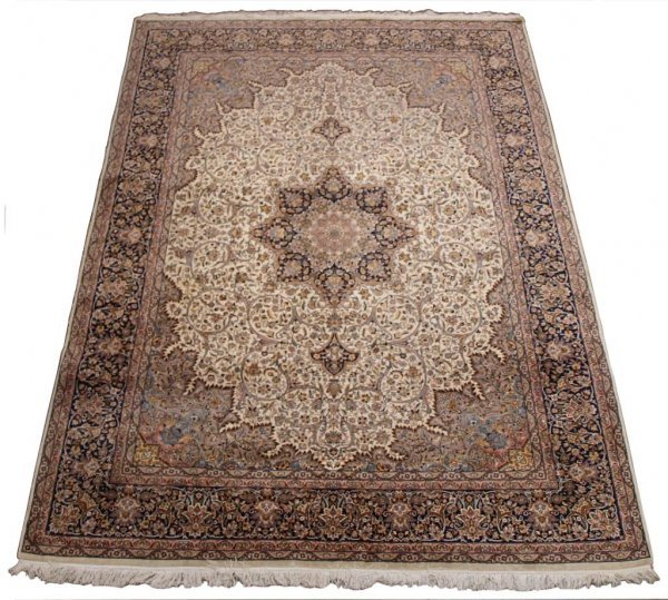 FINELY WOVEN PAKISTAN ISFAHAN PATTERN RUG 12.9 X 9