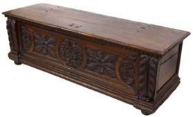 18TH C ITALIAN CARVED WALNUT CASSONE CHEST
