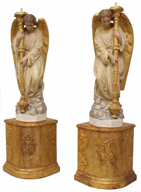 ANTIQUE LIFE-SIZE FRENCH CERAMIC CHURCH ANGELS