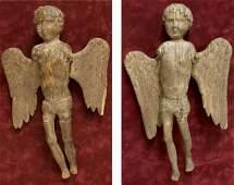 ANTIQUE BELGIUM HAND CARVED WOOD ANGEL FIGURES