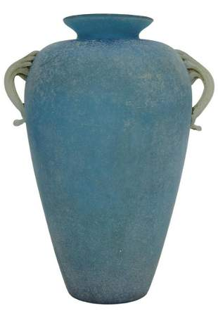 ITALIAN MURANO 'SCAVO' BLUE ART GLASS HANDLED VASE
