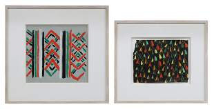 (2) SONIA DELAUNEY (ATTRIB.) GOUACHE PAINTINGS