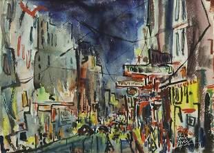 JACK LAYCOX (1921-1984) CITY STREET NOCTURNE W/C