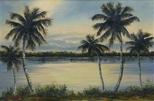 JOHN T. VIGNARI (1919-2014) PALM TREES PAINTING