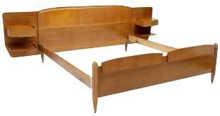 ITALIAN MID-CENTURY MODERN TEAK BED W/ NIGHTSTANDS