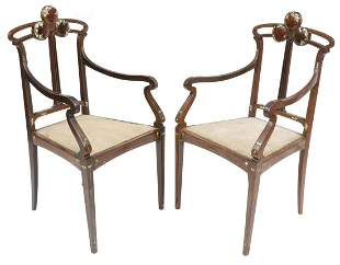 (2) ITALIAN ART NOUVEAU MOP INLAID ROSEWOOD CHAIRS