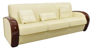 FRENCH MODERN CLAUDE DALLE LEATHER 3-SEAT SOFA