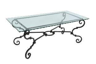GLASS-TOP WROUGHT IRON COFFEE TABLE